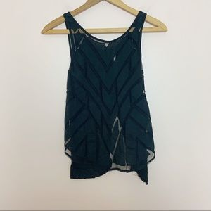 Free People Black Geometric Mesh Sleeveless Top